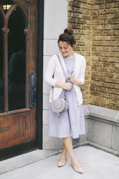 Modest blush and gray fashion inspo // Courtney Toliver // Outfit / Fashion / Style / Stripes / Cardigan /