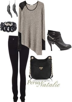 """""""grey/black sweater"""" by natalie-buscemi-hindman on Polyvore"""