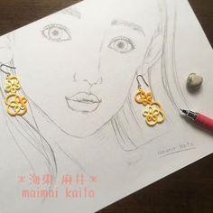 ' flower earrings '✨ #maimaikaito #tattinglace #tatting #originaldesign #タティングレース #オリジナルデザイン  minneに載せてるのと同じ色だけど、結い直しました^ ^ 段染めの糸は、あとは青と緑しか持ってなくて残念。