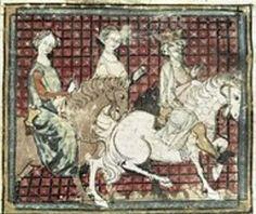 Chilpéric et Frédégonde à cheval Grandes chroniques de France, 1375-1379. Bibliothèque Municipale de Castres