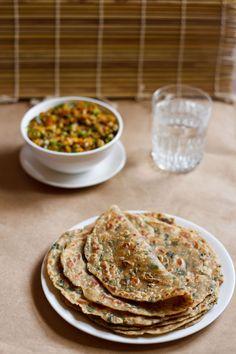 methi paratha - whole wheat flatbreads made with fresh fenugreek leaves. healthy breakfast or brunch recipe.