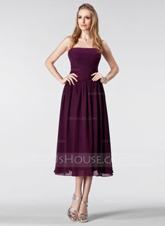 what do you think of this one :) Bridesmaid Dresses - $92.99 - Empire Strapless Tea-Length Chiffon Bridesmaid Dress With Ruffle (007005179) http://jjshouse.com/Empire-Strapless-Tea-Length-Chiffon-Bridesmaid-Dress-With-Ruffle-007005179-g5179