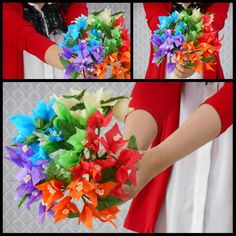 Tissue paper flowers bougenvillea in rainbow color. Very easy to make, inexpensive. You can use it as centerpiece or hand bouquet for your wedding. #diy #paperflower #paperflowers #tissuepaperflowers #diywedding