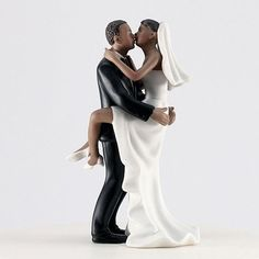 African American Kissing Couple Wedding Cake Topper