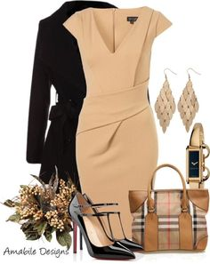 Fashion - Work Outfit ( dress, coat, shoes, handbag, earrings, watch )