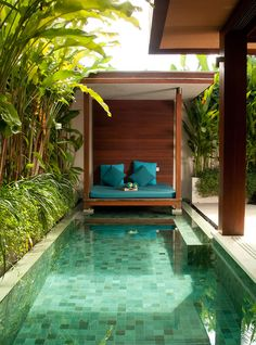 Having a swimming pool in a backyard is a good feature to make your outdoor space feels more fresh. Check these backyard with pools ideas to inspire you! Small Swimming Pools, Small Backyard Pools, Backyard Patio Designs, Small Pools, Swimming Pools Backyard, Swimming Pool Designs, Backyard Ideas Pool, Small Pool Houses, Sloped Backyard