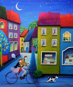 Paintings and illustrations by Iwona Lifsches. Art presentation and sale of original paintings and other art products. Modern Art, Colorful Art, Art Painting, Bicycle Art, Painting, Whimsical Art, Naive Painting, Art, Art Pictures