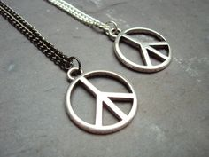 Peace Sign Necklace  Long Chain Necklace  Summer by GrungeForever