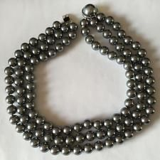 Black round faux knotted 3 strands necklace with round black MOP hidd... Lot 173