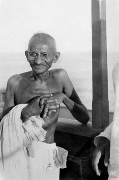 Mahatma Gandhi is shown aboard the S.S. Rajputana en route to the Second Round Table Conference on Dominion Status for India (September - December 1931) in London. (AP Photo/James A. Mills)