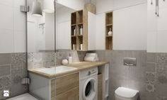 łazienki w stylu skandynawskim - Średnia łazienka w bloku bez okna, styl nowoczesny - zdjęcie od Grafika i Projekt architektura wnętrz