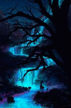 SCENIC: Ideas for the forest, but would probably be darker and maybe not blue, or at least not as bright blue. Fantasy Places, Fantasy World, Beautiful World, Beautiful Places, Fantasy Kunst, Fantasy Landscape, Fantasy Trees, Nature Wallpaper, Pretty Pictures