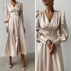 Glam Dresses, Elegant Dresses, Pretty Dresses, Beautiful Dresses, Dress Outfits, Vintage Dresses, Fashion Dresses, Elegant Outfit, Classy Dress