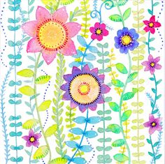 Wild flowers Card Watercolour Flowers by MooredInWhitstableUK