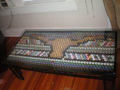 UT Beer Bottle cap table!!