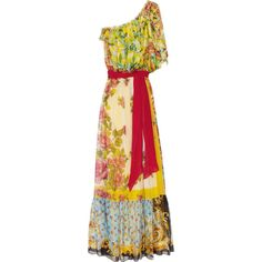 Dolce & Gabbana One-shoulder printed silk-chiffon gown ($1,235) ❤ liked on Polyvore featuring dresses, gowns, vestidos, long dresses, yellow dress, long red evening dress, red ball gown and red ruffle dress
