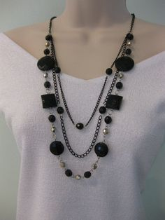Long Chunky Black Beaded Necklace Multi Strand by RalstonOriginals, $15.00
