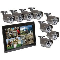 Costco: Q-See 8 Channel Security System with Hard Drive and 8 High Resolution Cameras Security Surveillance, Surveillance System, Office Safety, High Resolution Camera, Best Camera, One Design, All In One, Channel, Safety Tips