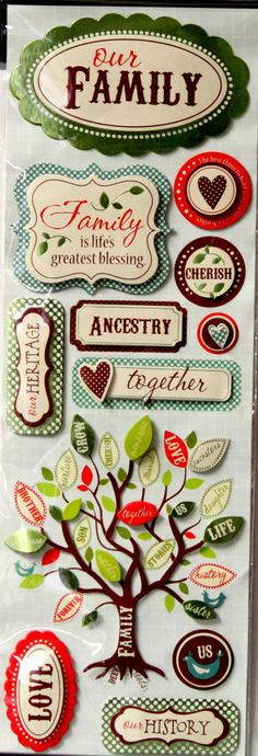Family Heritage Metallic Dimensional Stickers are available at Scrapbookfare.