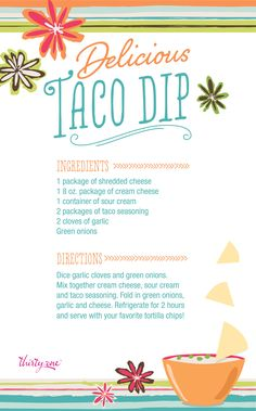 Try this simply delicious taco dip – it will be an instant party pleaser!