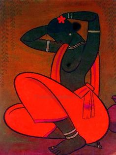 Woman in Red from A Tribute to Jamini Roy, Deepika Jaidka Indian Folk Art, Indian Artist, Jamini Roy, Indian Contemporary Art, Indian Arts And Crafts, Umbrella Art, Madhubani Art, India Art, Indian Paintings