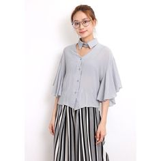 d/s by Drive Store Cut-Out Neck Flutter Sleeves Blouse