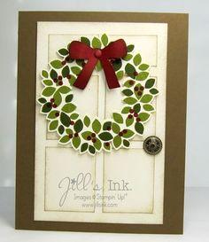 Wonderful Wreath MnT Card Stampin' Up! Christmas Card Crafts, Stampin Up Christmas, Christmas Cards To Make, Xmas Cards, Handmade Christmas, Holiday Cards, Christmas Door, Wondrous Wreath, Stampin Up Weihnachten