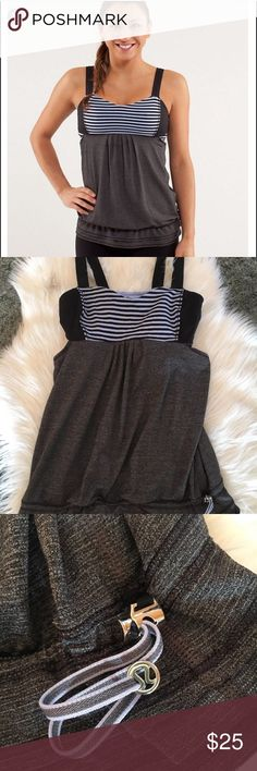 LULULEMON BACK ON TRACK tank size 8 Purple Gray Awesome tank! Shelf bra. No stains or holes. Only gently worn. lululemon athletica Tops Tank Tops