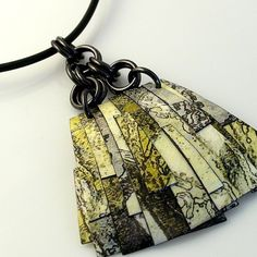 Custom Made Custom Polymer-Infused Collage Pendant on Leather Cord by Diana Ferguson Jewelry