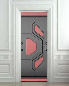 Ot for the whole door, maybe for cabinets or drawers? Door STICKER futuristic gate hi-tech mural decole film self-adhesive poster cm) - Pulaton stickers and posters - 1 Main Entrance Door Design, Entrance Doors, Door Entry, Cool Doors, Unique Doors, Wooden Door Design, Wooden Doors, Interior Walls, Interior Design