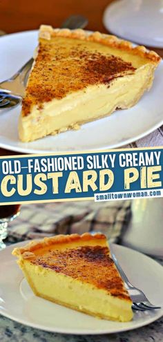 This old-fashioned egg custard pie will remind you of how your grandparents used to cook! 6 ingredients are all you need to prepare this incredibly sweet, silky, creamy treat in a matter of minutes. Make this dessert for your Thanksgiving table! Pin this recipe for later! Old Fashioned Egg Custard Pie Recipe, Custard Pie Recipe Easy, Baked Egg Custard, Hawaiian Custard Pie Recipe, Egg Custard Pies, Egg Custard Recipes, Custard Tart, Pie Dessert, Dessert Recipes