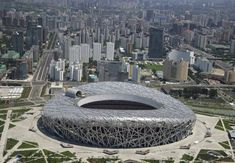 An aerial view shows the National Stadium, also known as the Bird's Nest, at the Olympic Green in Beijing