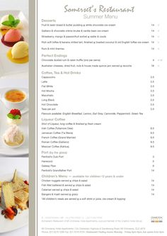 Somerset's Restaurant Menu, part of the Charlton Hotel Group. Photography and design.