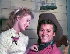 """Shirley Jones and Gordon MacRae in 1954 filming a scene for the Technicolor version of the musical """"Oklahoma!"""" Photo by Maurice Terrell for the Look magazine article """"Shirley Jones: The Girl From Oklahoma!"""" (They also made the film version of """"Carousel"""") Shirley Jones, Golden Age Of Hollywood, Classic Hollywood, Old Hollywood, Hollywood Stars, Oklahoma Musical, Shorpy Historical Photos, Historical Pictures, Look Magazine"""