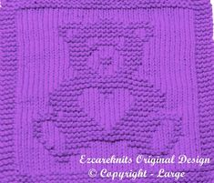 Knitting Cloth Pattern Sweetheart Bear P - Diy Crafts Knitted Dishcloth Patterns Free, Knitting Squares, Beginner Knitting Patterns, Knitted Washcloths, Knit Dishcloth, Knitting Blogs, Knitted Blankets, Knitting Stitches, Knitting Needles