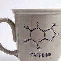 Beige Mug with Caffeine Molecule Chemistry Decal