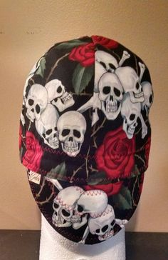 45f1ad1be21 Skull and Roses Welding Cap by CindersCaps on Etsy Welding Hats