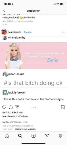 Diamonds Lyrics, Marina And The Diamonds, Barbie, Thoughts, Ideas, Barbie Dolls, Tanks, Barbie Doll