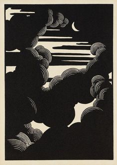 relief printmaking Wolken Woodcut by Flix Vallotton, simple and beautiful Art And Illustration, Gravure Illustration, Linocut Prints, Art Prints, Block Prints, Woodcut Art, Linoprint, Ouvrages D'art, Art Graphique