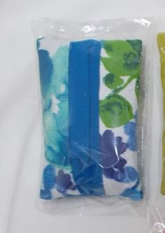 Fabric Tissue Holder, Pocket Tissue Pouch Cover, Purse Accessory, Valentines Day, Love, Blue flower fabric For Her, travel tissue case,