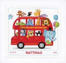 Funny Bus - Birth Record  : Vervaco Counted Cross Stitch Kit - PN0147691
