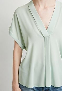 V-Neck Shawl Collar Blouse   LOVE21 - 2000077471