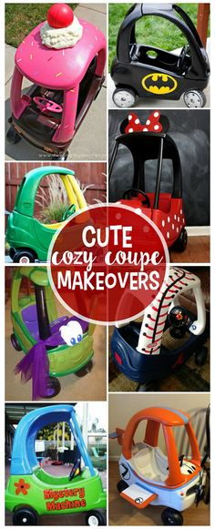 Little tike cozy coupe car makeovers - so cute for kids this summer! Little tike cozy coupe car makeovers - so cute for kids this summer! Repurposed Furniture, Kids Furniture, Unique Furniture, Reuse Furniture, Furniture Design, Furniture Outlet, Plywood Furniture, Vintage Furniture, Bedroom Furniture