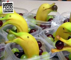 """These cute banana """"dophins"""" are easy to create, and a fun way to get your kids to eat their fruits. You can either do this for school or a kid's party. Get all your fresh fruit at #FLM #Knysna #fruit #kids"""
