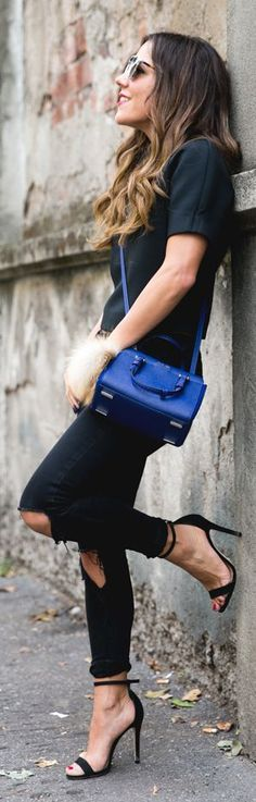 All Black Everything Klein Blue Calvin Klein Crossbody Fall Inspo by Peeptoes
