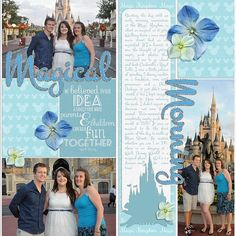 Disney Scrapbook Page Layout Ideas from Melissa of Melidy Designs  - Magical Morning in front of the Castle