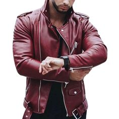 17414008abf WENYUGH Plus Size Leather Jacket Men Autumn Fashion Long Sleeve Stand  Collar Jacket Winter Zipper Patchwork Faux Leather Coats-.