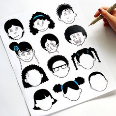 Blank faces coloring pages. - Download for free!
