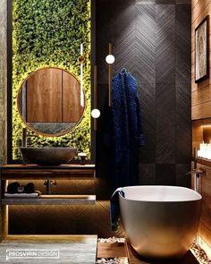 Banheiro com decoração contemporânea. Revestimentos em madeira, espelho iluminado e parede decorada com plantas são o destaque. Best Bathroom Designs, Bathroom Design Luxury, Modern Bathroom, Small Bathroom, Nature Bathroom, Target Bathroom, Lowes Bathroom, Bathroom Towels, Bathroom Wall
