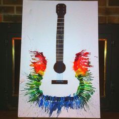 Fun and Budget Friendly Melted Crayon Art Ideas Melted Crayon Guitar. Crafts To Do, Kids Crafts, Art Crafts, Ideias Diy, Melting Crayons, Art Plastique, Oeuvre D'art, Diy Art, Cool Art